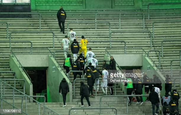 Supporters of Moenchengladbach are seen after the Bundesliga match between Borussia Moenchengladbach and 1. FC Koeln at Borussia-Park on February 9,...