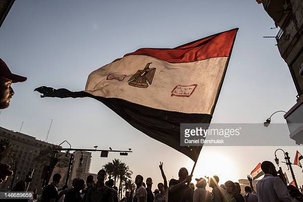 Supporters of Mohamed Morsi, the Muslim Brotherhood's candidate, protest against Egypt's military rulers in Tahrir Square on June 22, 2012 in Cairo,...