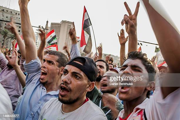 Supporters of Mohamed Morsi, the Muslim Brotherhood's presidential candidate, protest against Egypts military rulers in Tahrir Square on June 21,...