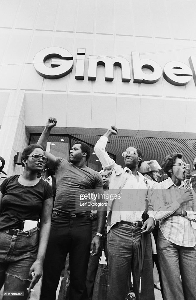 Supporters of MOVE, a cult founded by John Africa, rally to protest the police blockade at the cult headquarters in the Powelton Village section of Philadelphia, Pennsylvania.