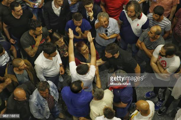 Supporters of Muharrem Ince discuss against results of the elections at Republican People's Party headquarters on June 25 2018 in Ankara Turkey...