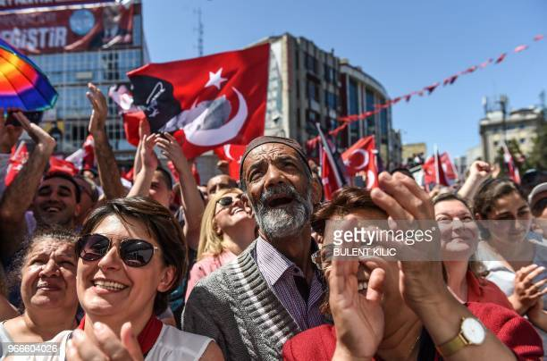 Supporters of Muharrem Ince presidential candidate of the main opposition Republican People's Party attend a campaign rally in Istanbul on June 3...