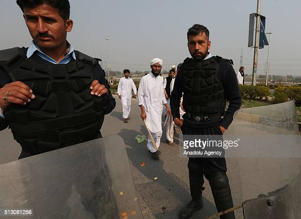 Supporters of Mumtaz Qadri killed former Punjab governor Salman Taseer 5 years ago stage a protest against his execution on the main highway in...