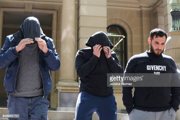 Supporters of Mustapha Dib leave the Sydney Central Local Court for a break on September 18 2017 in Sydney Australia Michael and Fadi Ibrahim along...