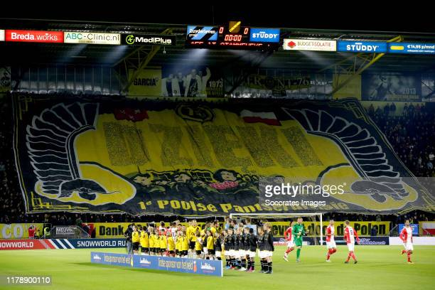 supporters of NAC Breda with banner during the Dutch KNVB Beker match between NAC Breda v FC Emmen at the Rat Verlegh Stadium on October 29 2019 in...