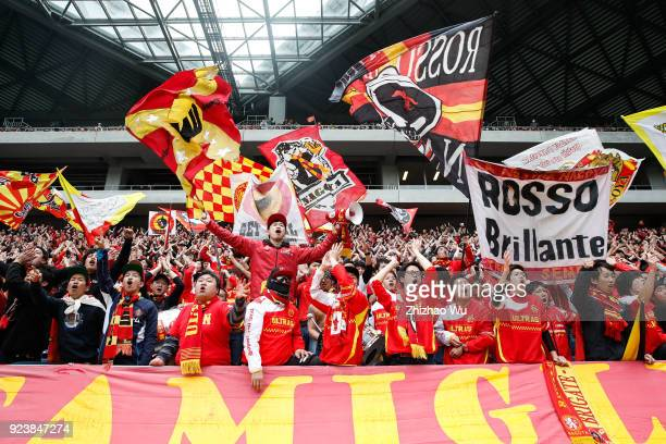 Supporters of Nagoya Grampus in action during the JLeague J1 match between Gamba Osaka and Nagoya Grampus at Suita City Football Stadium on February...