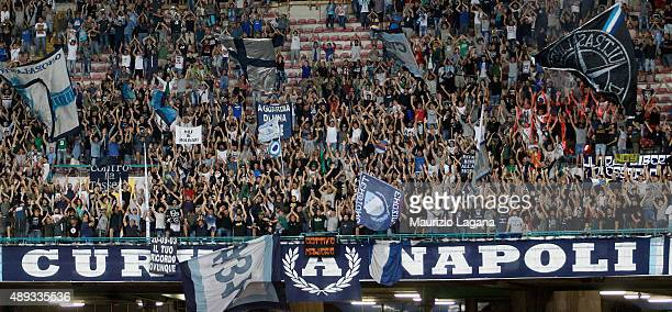 Supporters of Napoli during the Serie A match between SSC Napoli and SS Lazio at Stadio San Paolo on September 20 2015 in Naples Italy