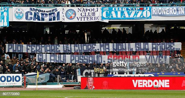 Supporters of Napoli during the Serie A match between SSC Napoli and Empoli FC at Stadio San Paolo on January 31 2016 in Naples Italy