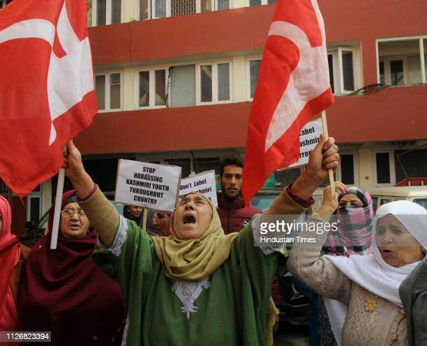 Supporters of National Conference shout slogans during a protest on February 23 2019 in Srinagar India They said the protest was against the...