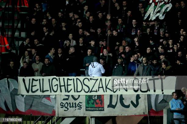 Supporters of NEC Nijmegen during the Dutch Keuken Kampioen Divisie match between NEC Nijmegen v SC Cambuur at the Goffert Stadium on January 31,...
