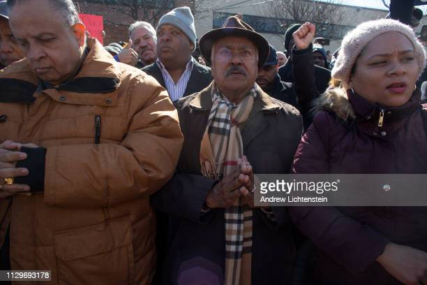 Supporters of New York city councilman Ruben Diaz Sr. Attend a rally outside his office to protest his suspension from a city council committee for...