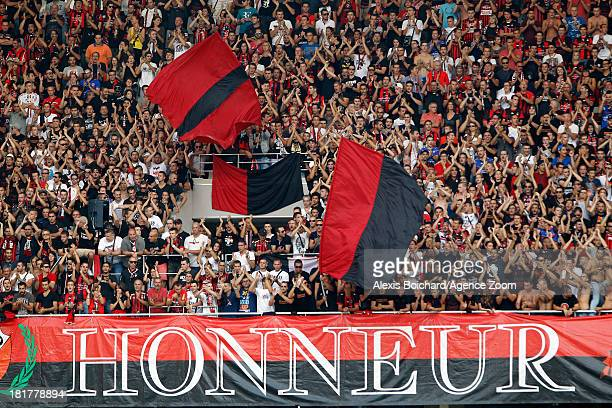 Supporters of Nice during the French Football League 1 match between OGC Nice and Valenciennes FC on September 22, 2013 in Nice, France.