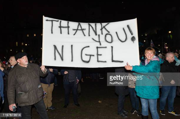 Supporters of Nigel Farage join thousands of pro-Brexit supporters in a rally celebrating Britain's departure from the EU in Parliament Square on 31...