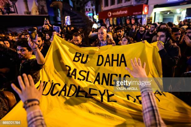 Supporters of 'No' gather in Istanbul to protest on April 16 2017 after the results of a nationwide referendum that will determine Turkey's future...
