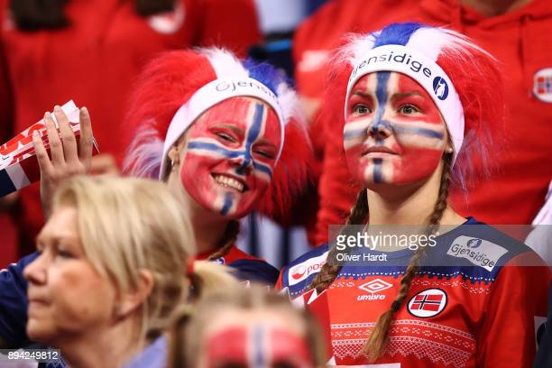 Supporters of Norway during the IHF Women's Handball World Championship final match between France and Norway at Barclaycard Arena on December 17...