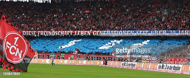 Supporters of Nuernberg showing their sympathy for FC Schalke 04 prior to the Bundesliga first league match between 1 FC Nuernberg and FC Schalke 04...