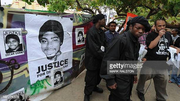 Supporters of Oscar J Grant III hold a rally in South Central Los Angeles after the involuntary manslaughter verdict against the former Bay Area...