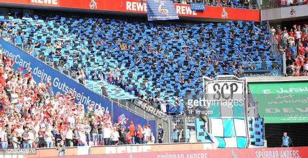 Supporters of Paderborn are seen during the Second Bundesliga match between 1 FC Koeln and SC Paderborn 07 on September 16 2018 in Cologne Germany