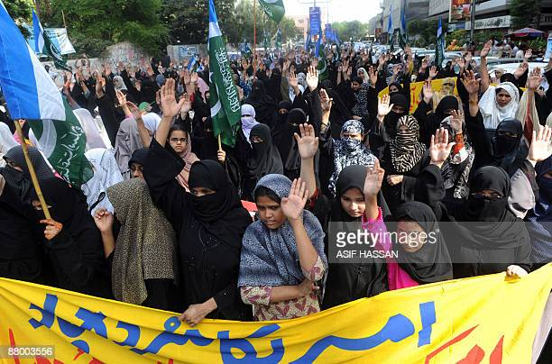Supporters of Pakistan's fundamentalist Islamic party JamaatiIslami stage a protest rally in Karachi on May 27 2009 against the US and the military...