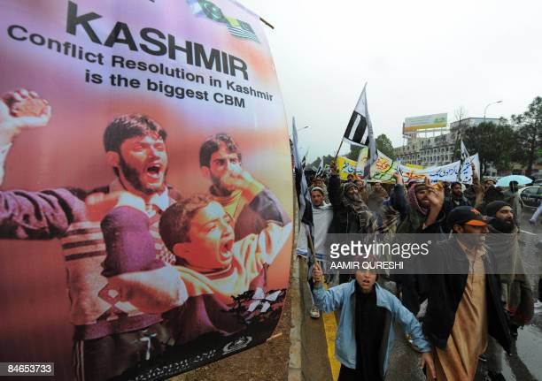 Supporters of Pakistan's main Islamist party JamaatiIslami shout slogans as they march during an antiIndia protest rally in Islamabad on February 5...