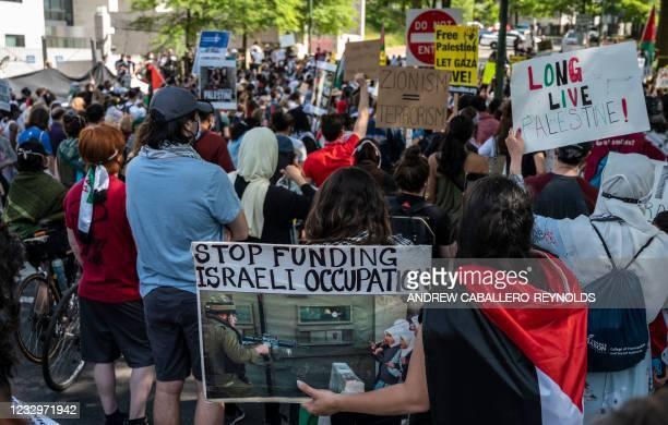 Supporters of Palestine hold a protest in front of the Israeli Embassy in Washington, DC on May 18, 2021 - Heavy air strikes and rocket fire in the...