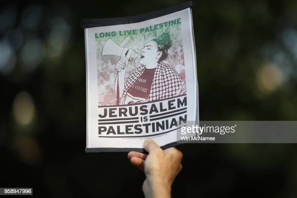 Supporters of Palestinian rights protest in Dupont Circle May 15 2018 in Washington DC The US Campaign for Palestinian Rights demonstrated in support...