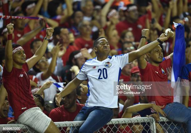 Supporters of Panama celebrate after their team defeats Costa Rica and qualifies for the 2018 World Cup for the first time ever in Panama City on...