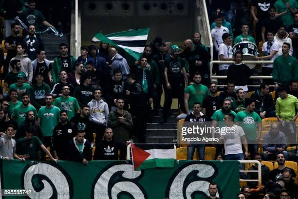 Supporters of Panathinaikos Superfoods Athens hang a Palestinian flag during the Turkish Airlines Euroleague basketball match between Panathinaikos...