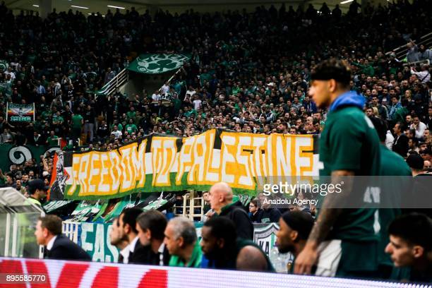 Supporters of Panathinaikos Superfoods Athens hold a banner reading 'Freedom to Palestine' during the Turkish Airlines Euroleague basketball match...