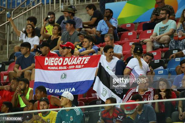 Supporters of Paraguay during the FIFA U17 World Cup Brazil 2019 round of 16 match between Paraguay and Argentina at Estadio Kleber Andrade on...