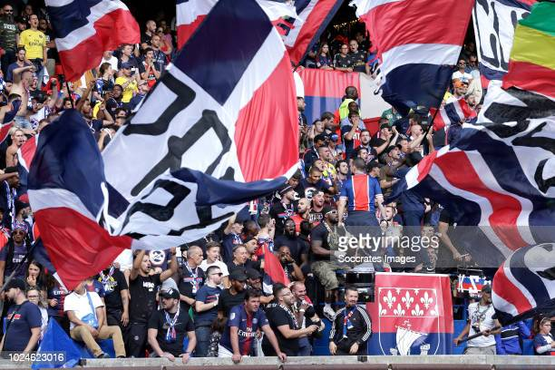 supporters of Paris Saint Germain during the French League 1 match between Paris Saint Germain v Angers at the Parc des Princes on August 25 2018 in...