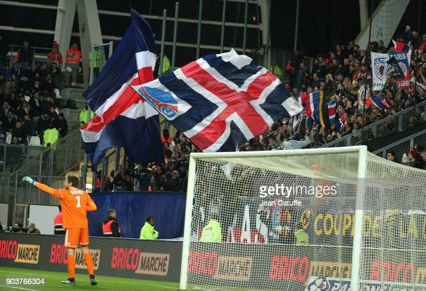 Supporters of Paris Saint Germain during the French League Cup match between Amiens SC and Paris Saint Germain at Stade de la Licorne on January 10...