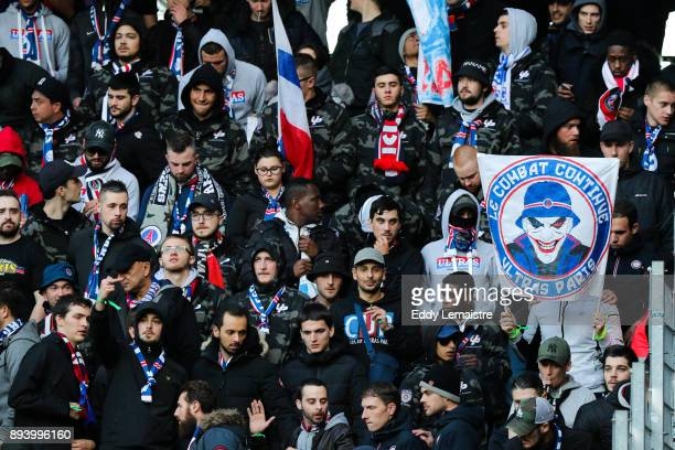 Supporters of Paris Saint Germain during the Ligue 1 match between Stade Rennes and Paris Saint Germain at Roazhon Park on December 16 2017 in Rennes