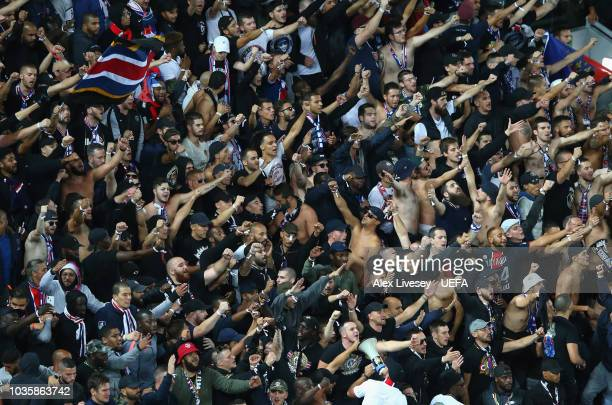 Supporters of Paris SaintGermain during the Group C match of the UEFA Champions League between Liverpool and Paris SaintGermain at Anfield on...