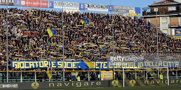 Supporters of Parma during the Serie A match between Parma and Juventus at Stadio Ennio Tardini on January 6 2010 in Parma Italy