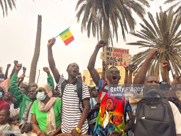 Supporters of Patriots of Senegal for Ethics, Work and Fraternity political party leader Ousmane Sonko stage a demonstration in demand of the release...