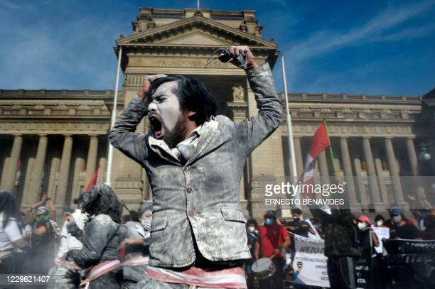 Supporters of Peruvian ousted President Martin Vizcarra demonstrate against the government of interim president Manuel Merino outside the Palace of...