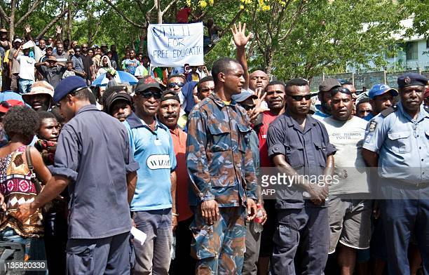Supporters of Peter O'Neill attend a protest in Port Moresby on December 15 2011 Police were ordered to take control of Papua New Guinea's government...