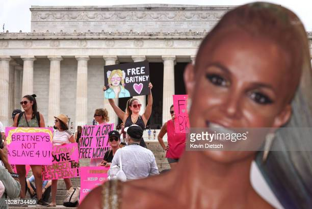 Supporters of pop star Britney Spears participate in a #FreeBritney rally at the Lincoln memorial on July 14, 2021 in Washington, DC. The group is...