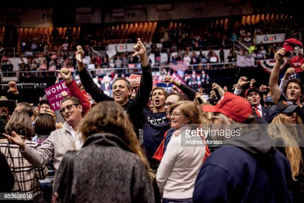 Supporters of President Donald J Trump jeer at the media during a rally on March 15 2017 in Nashville Tennessee During his speech Trump promised to...
