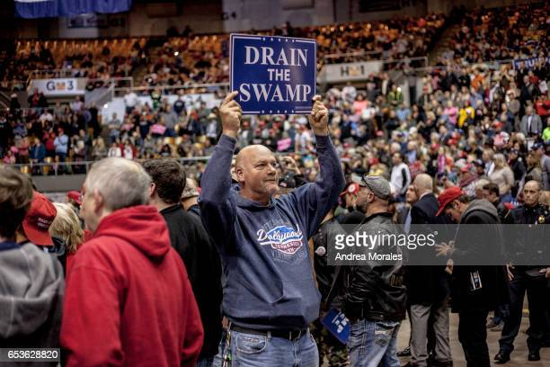 Supporters of President Donald J Trump jeer at the media during a rally held by President Trump on March 15 2017 in Nashville Tennessee During his...
