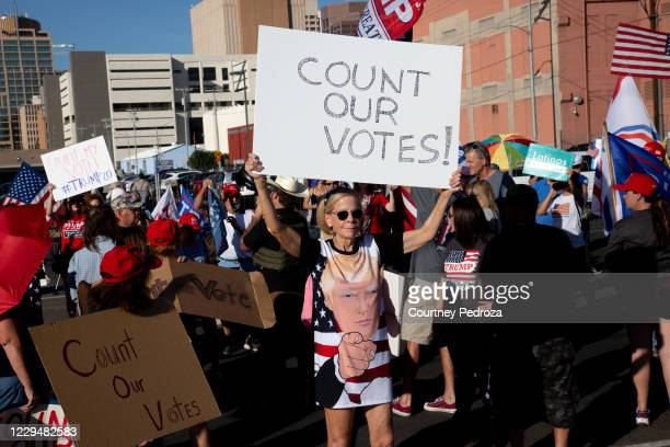 Supporters of President Donald Trump asked for the counting of votes during a protest against the election results at the Maricopa County Elections...