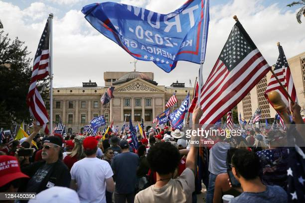 Supporters of President Donald Trump demonstrate at a 'Stop the Steal' rally in front of the State Capitol on November 7, 2020 in Phoenix, Arizona....