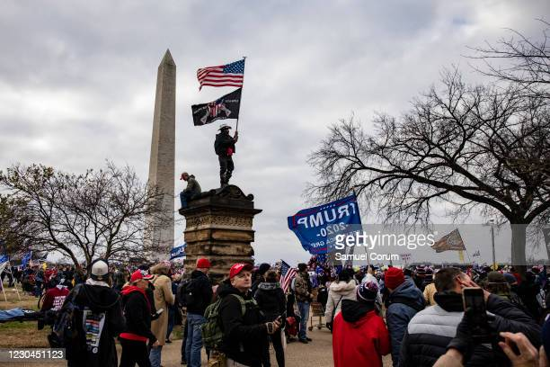 Supporters of President Donald Trump flock to the National Mall by the tens of thousands for a rally on January 6, 2021 in Washington, DC. Trump...
