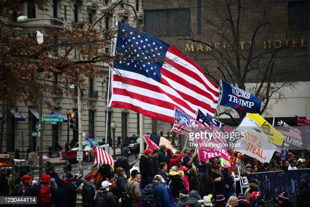 Supporters of President Donald Trump gather at Freedom Plaza to protest the election of President-Elect Joseph Biden in Washington, D.C., January 5,...