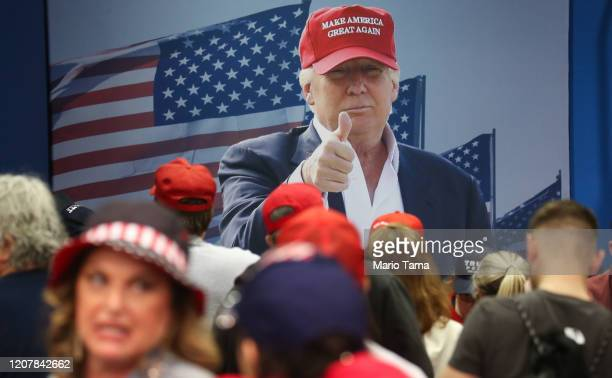 Supporters of President Donald Trump gather following a campaign rally at Las Vegas Convention Center on February 21 2020 in Las Vegas Nevada The...