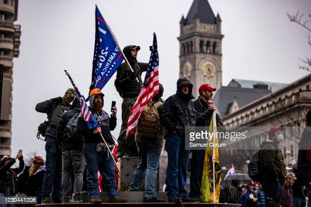 Supporters of President Donald Trump gather for a rally at Freedom Plaza on January 5, 2021 in Washington, DC. Today's rally kicks off two days of...