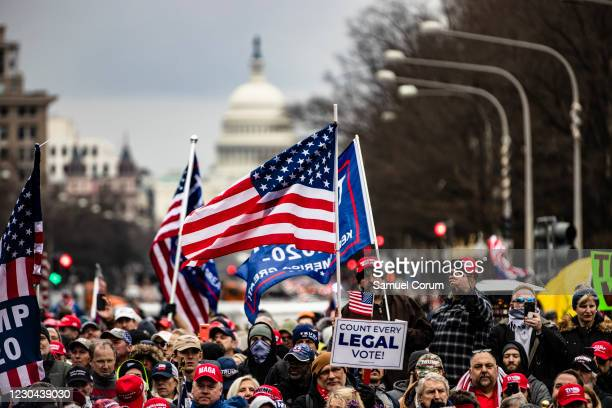 Supporters of President Donald Trump gather in Freedom Plaza for a rally on January 5, 2021 in Washington, DC. Today's rally kicks off two days of...