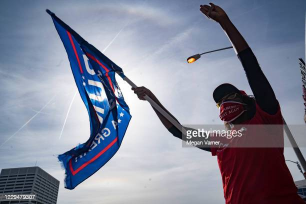 Supporters of President Donald Trump protest outside State Farm Arena as ballots continue to be counted inside on November 5, 2020 in Atlanta,...