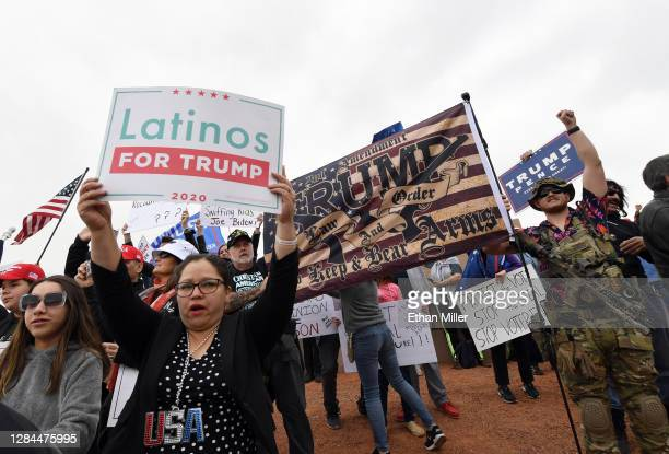 Supporters of President Donald Trump protest outside the Clark County Election Department on November 7, 2020 in North Las Vegas, Nevada. Around the...